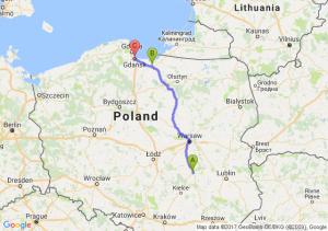 Radom (mazowieckie) - Elbląg (warmińsko-mazurskie) - Gdańsk (pomorskie)