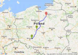 Oleśnica (dolnośląskie) - Konin (wielkopolskie) - Ostróda (warmińsko-mazurskie)