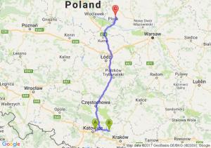 Sosnowiec (śląskie) - Olkusz (małopolskie) - Bolechowice (mazowieckie)