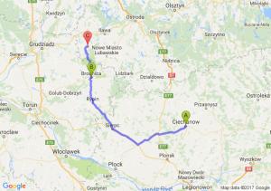 Ciechanów (mazowieckie) - Brodnica (kujawsko-pomorskie) - Biskupiec (koło Nowego Miasta Lubawskiego) (warmińsko-mazurskie)