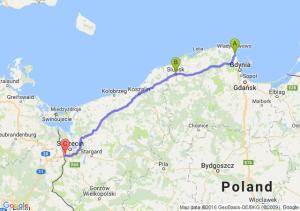 Puck (pomorskie) - Słupsk (pomorskie) - Kołbaskowo (zachodniopomorskie)