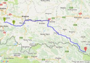 Jawiszowice (małopolskie) - Wadowice (małopolskie) - Majdan (podkarpackie)