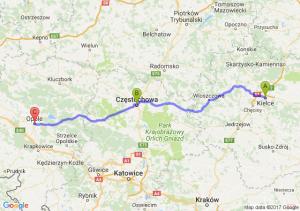 Kielce (świętokrzyskie) - Czestochowa - Opole (opolskie)