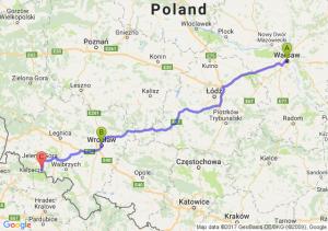 Warszawa (mazowieckie) - Wrocław (dolnośląskie) - Karpacz (dolnośląskie)