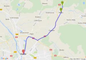Osowiec Śląski (opolskie) - Węgry (opolskie) - Opole (opolskie)
