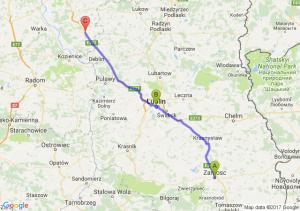 Zamość (lubelskie) - Lublin (lubelskie) - Gończyce (mazowieckie)