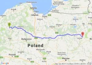 Szczecinek (zachodniopomorskie) - Jedwabne (podlaskie)