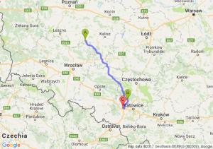 Krotoszyn (wielkopolskiee) - Tarnowskie Góry (śląskie) - Gliwice (śląskie)