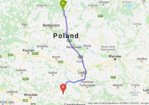Trasa Warlubie - Wieluń