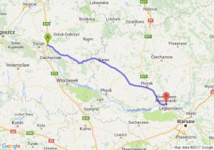 Trasa Lubicz Dolny - Nowy Dwór Mazowiecki