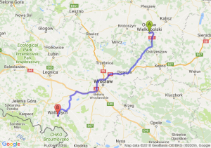 Trasa Ostrów Wielkopolski - Wałbrzych