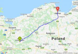 Trasa Gorzów Wielkopolski - Gdańsk
