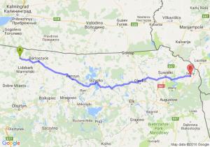Górowo Iławieckie (warmińsko-mazurskie) - Sejny (podlaskie)