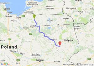Lidzbark Warmiński (warmińsko-mazurskie) - Wysokie Mazowieckie (podlaskie)