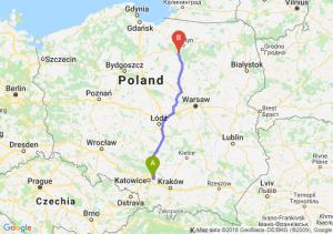 Trasa Dąbrowa Górnicza - Olsztynek