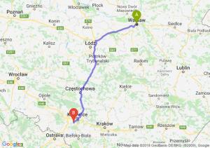 Trasa Warszawa - Mikołów