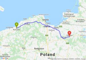 Trasa Koszalin - Olsztyn