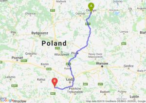 Trasa Olsztyn - Sieradz