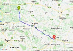 Trasa Zielona Góra - Mikołów