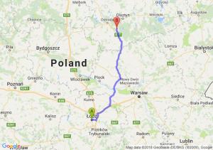 Trasa Łódź - Olsztynek