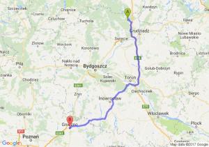 Trasa Warlubie - Gniezno
