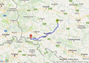 Trasa Ostrów Wielkopolski - Jelenia Góra