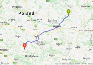 Trasa Ostrów Mazowiecka - Wieluń