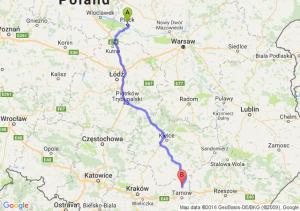 Płock (mazowieckie) - Dąbrowa Tarnowska (małopolskie)