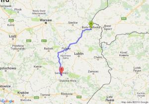 Biała Podlaska (lubelskie) - Sandomierz (świętokrzyskie)
