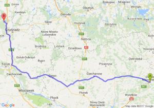 Trasa Ostrów Mazowiecka - Warlubie