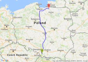 Bielsko-Biała (śląskie) - Pieniężno (warmińsko-mazurskie)