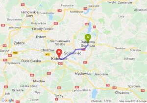 Trasa Dąbrowa Górnicza - Katowice