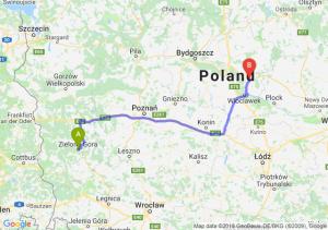 Trasa Zielona Góra - Lipno
