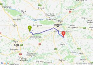 Trasa Łowicz - Góra Kalwaria