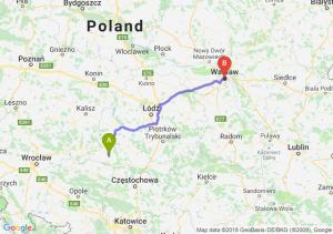 Trasa Wieluń - Warszawa
