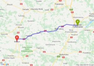 Trasa Piotrków Trybunalski - Wieluń