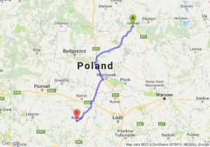 Ostróda (warmińsko-mazurskie) - Kalisz (wielkopolskie)