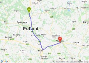 Trasa Warlubie - Warszawa