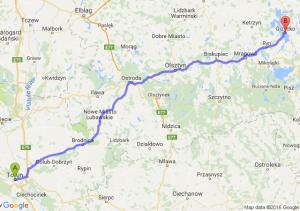 Toruń (kujawsko-pomorskie) - Giżycko (warmińsko-mazurskie)