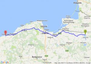 Węgorzewo (warmińsko-mazurskie) - Kołobrzeg (zachodniopomorskie)