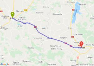 Trasa Kalisz - Sieradz