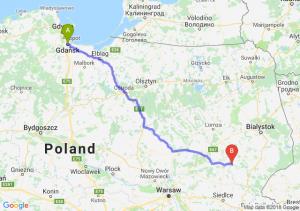 Trasa Gdańsk - Ciechanowiec
