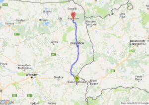 Trasa Biała Podlaska - Augustów