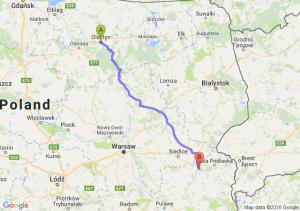 Olsztyn (warmińsko-mazurskie) - Międzyrzec Podlaski (lubelskie)