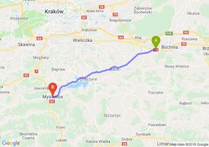 Trasa Łapczyca - Myślenice