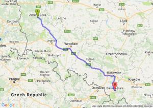 Zielona Góra (lubuskie) - Bielsko-Biała (śląskie)