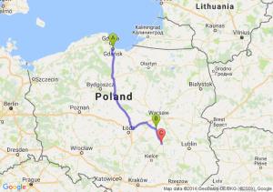 Gdańsk (pomorskie) - Grójec (mazowieckie) - Radom (mazowieckie)