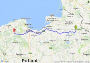 Gołdap (warmińsko-mazurskie) - Bytów (pomorskie)
