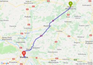 Trasa Ostrów Mazowiecka - Warszawa