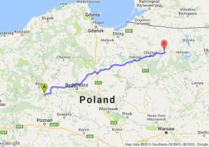 Chodzież (wielkopolskie) - Biskupiec (warmińsko-mazurskie)